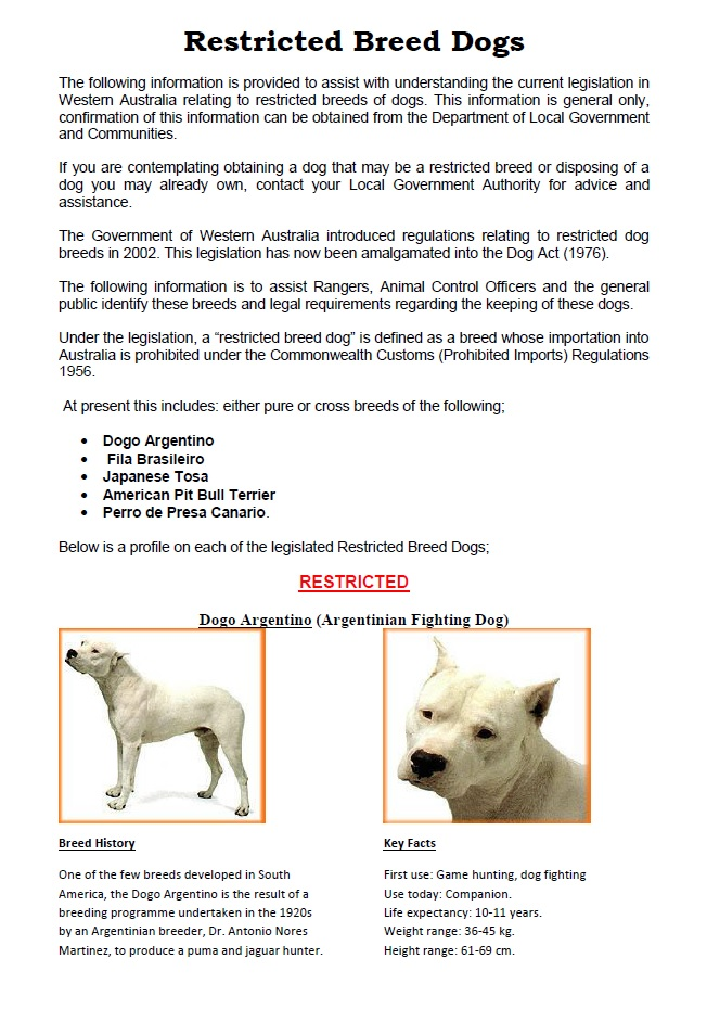 Restricted Breed Dogs PAGE 1