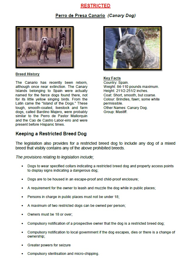 Restricted Breed Dogs PAGE 4a